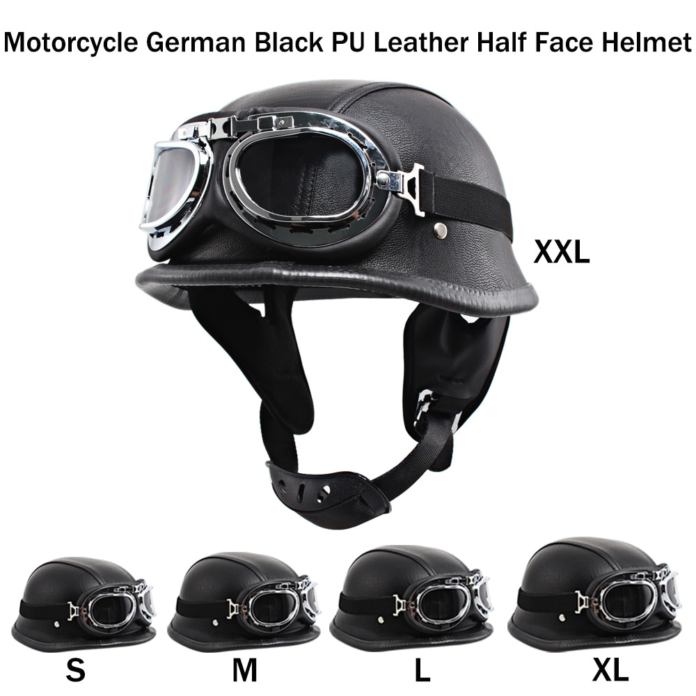 New Leather Motorcycle Vintage Helmet German Motorbike Open Face Half Helmet with Glasses Chopper Biker Pilot Scooter Cruiser new german motorcycle wwii style half helmet chopper biker pilot goggles open face moto motocicleta with free goggle and mask