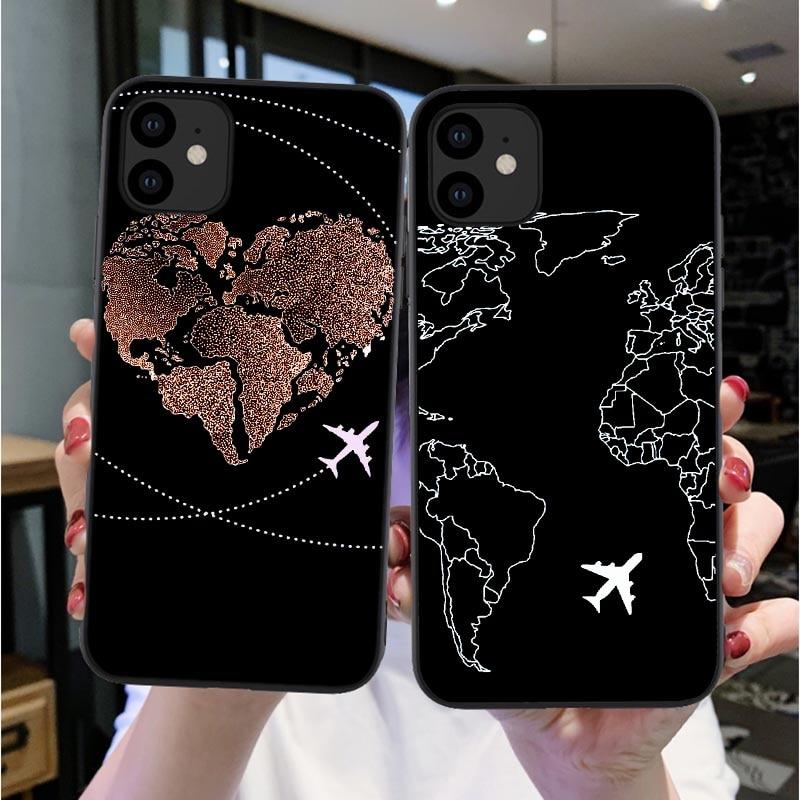 Mapa del mundo viaje Just Go funda de teléfono para iPhones Xs Max X 11Pro XR 7 8 6 6s Plus SE de moda silicona transparente suave negro cubierta Coque