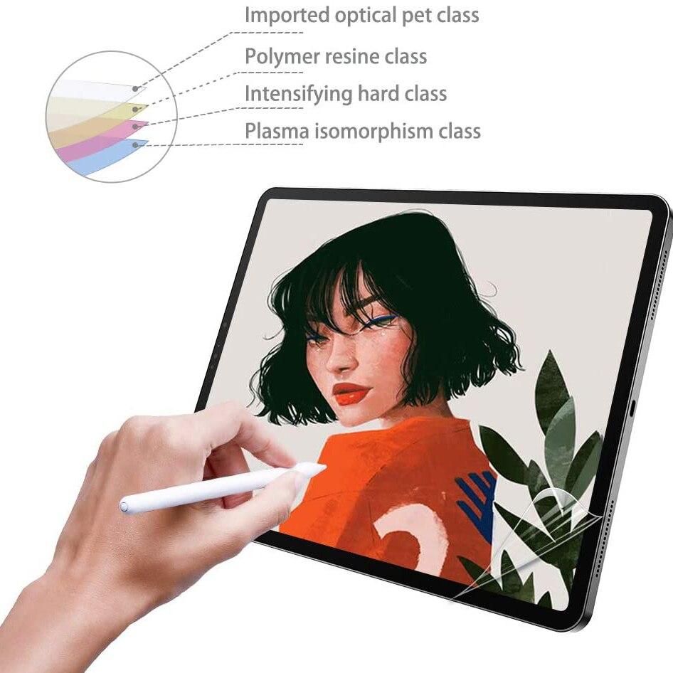 De papel como Protector de pantalla para iPad Air, iPad Pro 12,9 11 10,5 9,7 1, 2, 3, 4 5 mate PET Anti-Glare pintura película para lápiz de Apple