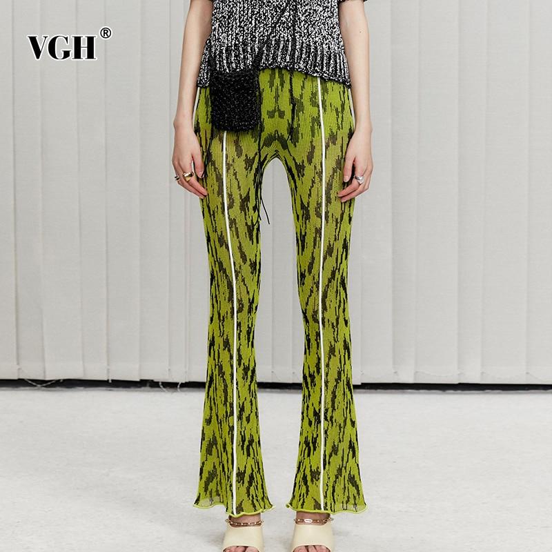 VGH غير رسمية الأخضر بنطلون للنساء عالية الخصر محبوك الكورية سليم ضرب اللون مضيئة السراويل الإناث جديد 2021 الربيع ملابس عصرية