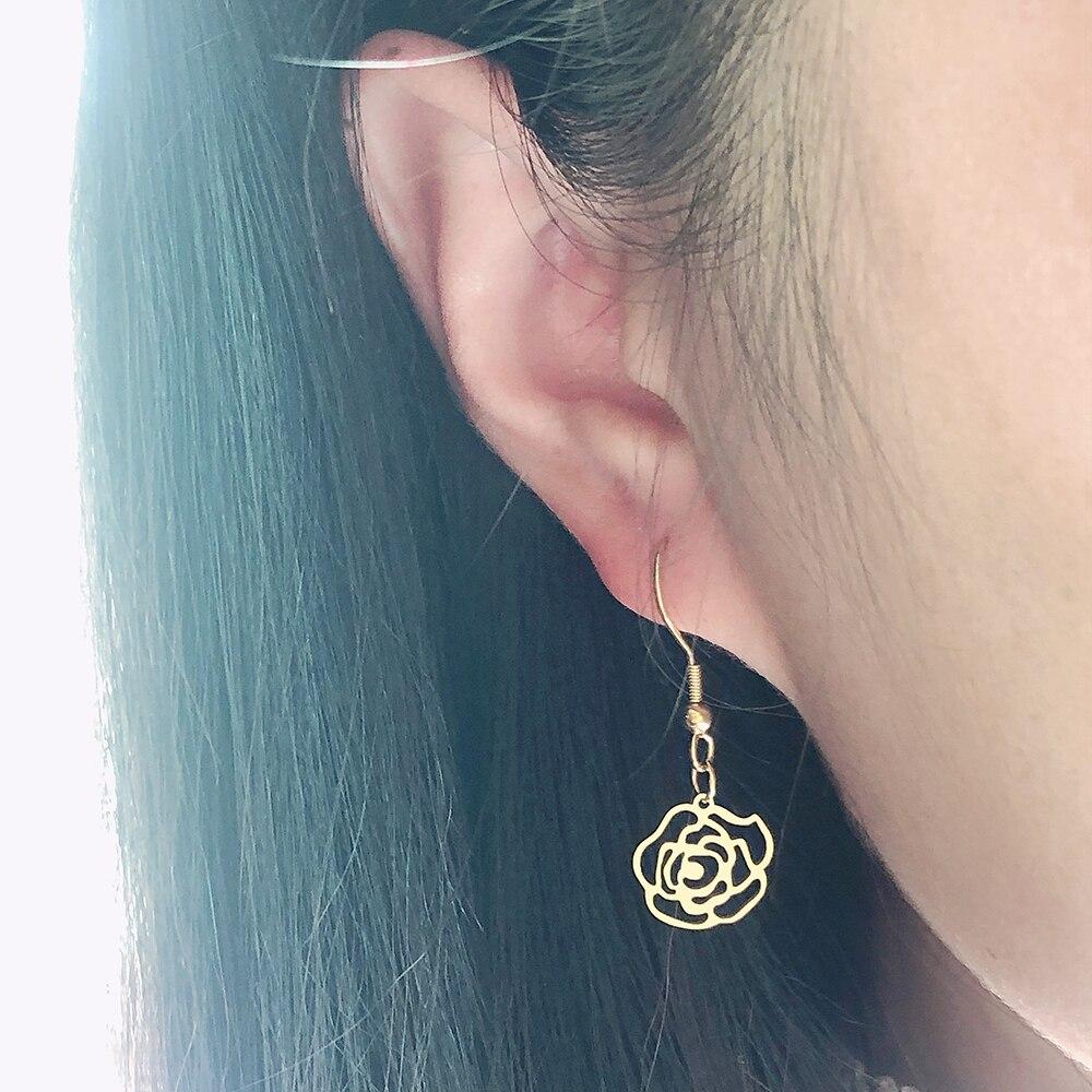 CACANA Rose Ohrringe Für Frauen Mode Baumeln Edelstahl Temperament Ohrring Engagement Hochzeit geschenke Gold Schmuck