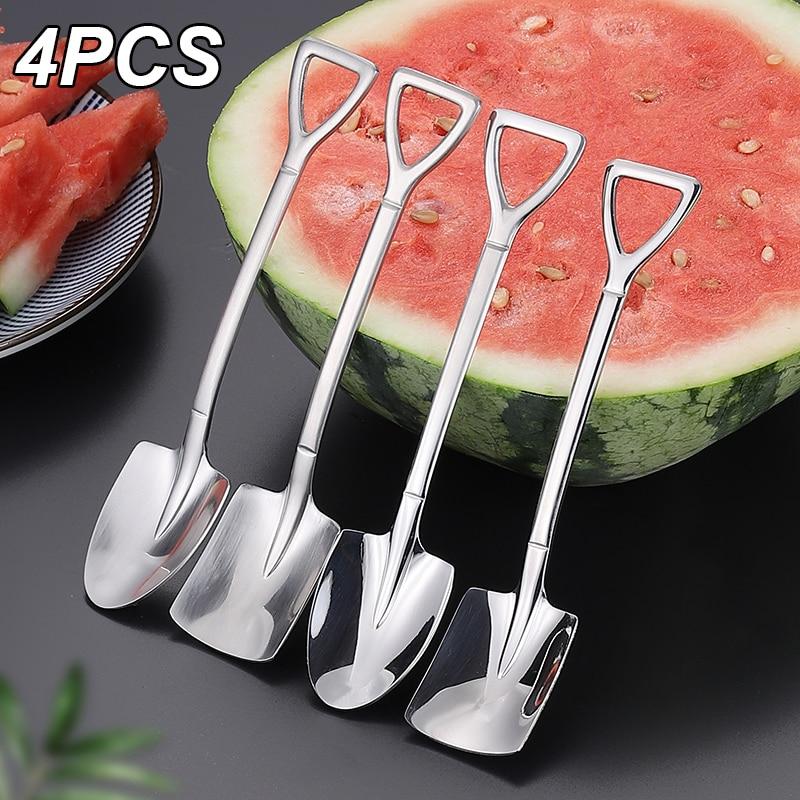 4PCS Coffee Spoon Cutlery Set Stainless Steel Retro Iron Shovel Ice Cream Spoon Scoop Creative Spoon tea-spoon Fashion Tableware