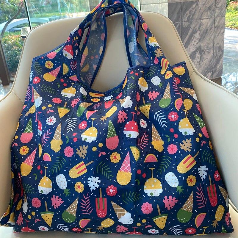 Нейлоновая женская сумка большого размера, многоразовая складная сумка, сумка для покупок, Экологичная сумка, сумка на плечо, сумка-тоут