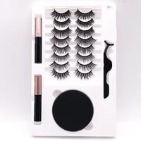 free shipping 10 pairs of magnetic iron stone false eyelashes 2 liquid eyeliner set with round box and tweezers free glue new