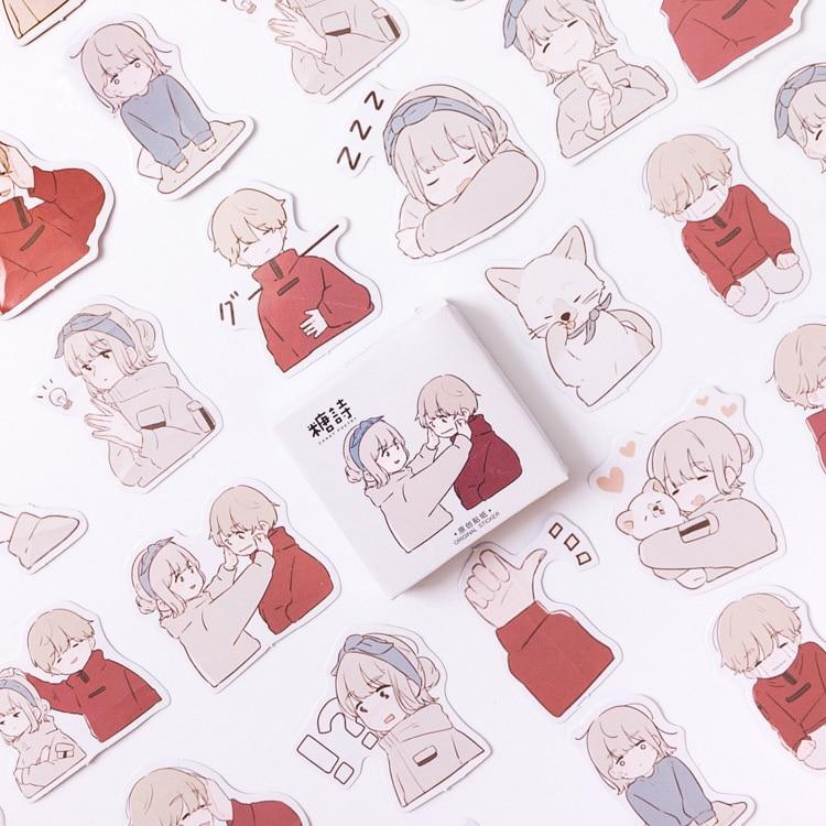 Mohamm Love Overture lindo en caja Kawaii pegatinas planificador Scrapbooking papelería japonés pegatinas de diario