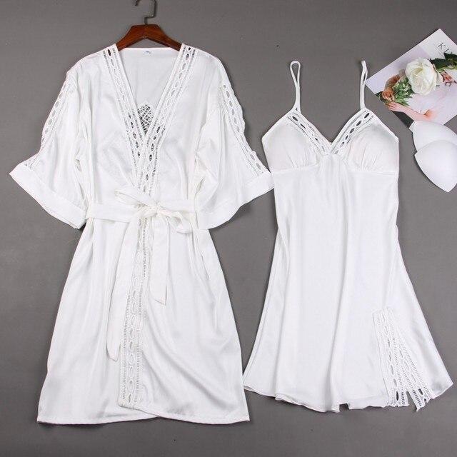 Femmes Robe ensembles dames Sexy dentelle salon ensembles Pijama à manches longues chemise de nuit en soie peignoir chemise de nuit deux pièces ensembles de vêtements de nuit