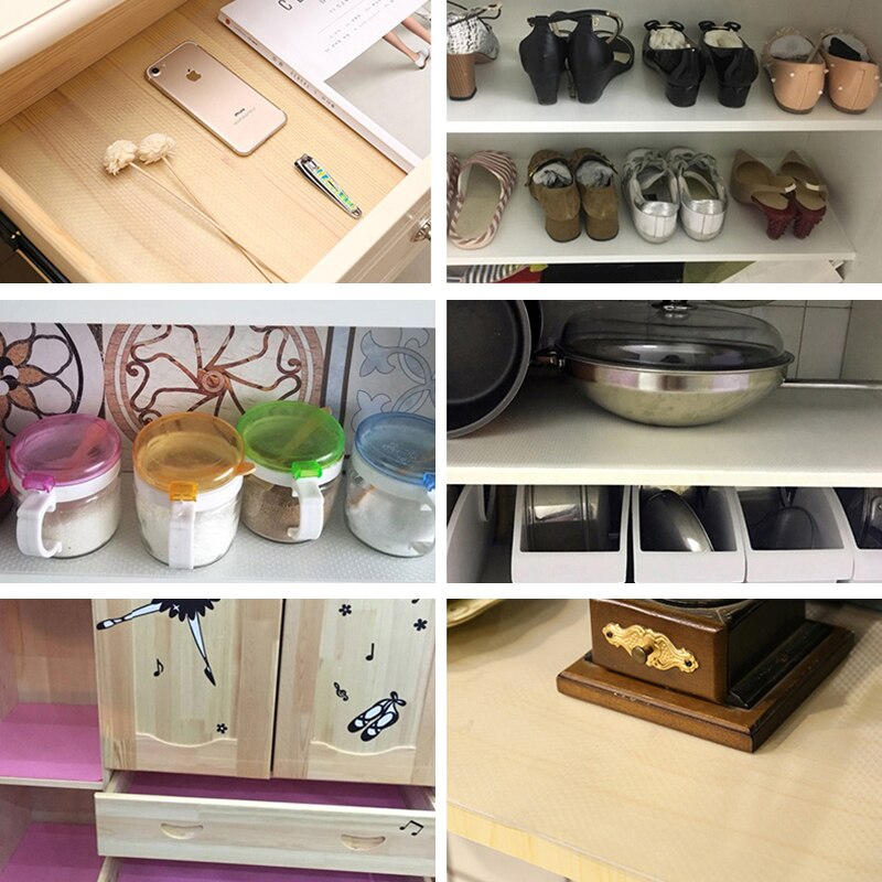 organization contact paper Reusable Shelf Liner Contact Cabinet Paper Mat Drawer Dust shelf liner Proof Non-Slip Tableware Pad enlarge
