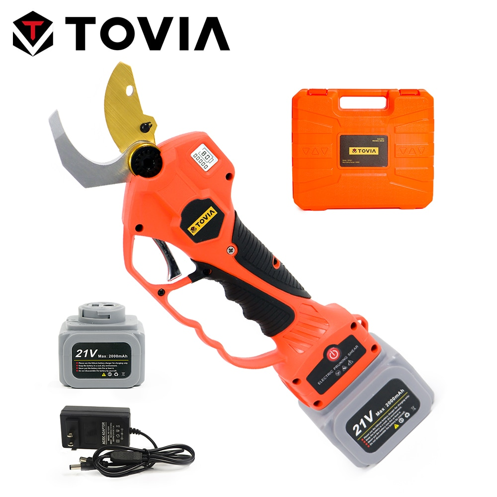 TOVIA 21V Cordless Pruner 30mm Cutting Electric Pruning Shears Brushless Garden Tree Trimmer with 2 Battery Branch Cutter