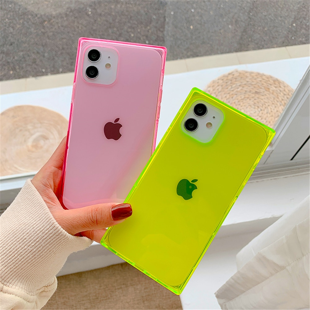 Square Clear Silicone Case for iPhone 12 11 XR 6 6s 7 8 Plus Protective Cushion Soft Shockproof Case