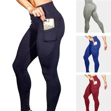 2021 new sports mobile phone pocket leggings solid color high stretch fitness hip high waist yoga pants women