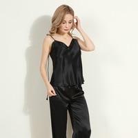 Heavy Silk Sling Basic Outer Wear Vest Pants Pajamas Two-Piece Sexy Sweet Silkworm Silk Home Wear