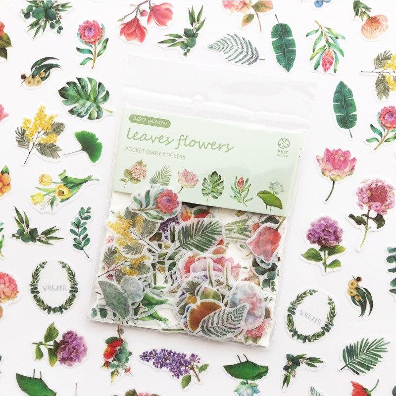 100-unids-pack-verde-plantas-y-flores-cuaderno-diario-pegatinas-decorativas-para-album