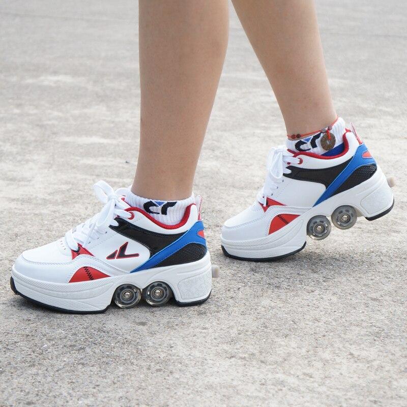 حار المشي الأسطوانة أحذية الرجال النساء أحذية رياضية كاجوال الزلاجات تشوه عجلة الزلاجات للبالغين للجنسين الطفل الهارب الزلاجات أربع عجلات