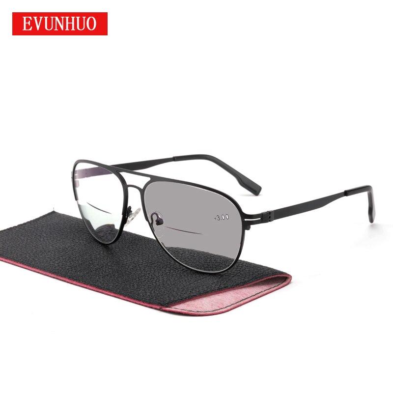 EVUNHUO-نظارات قراءة للرجال ، إطار كبير ، فوتوكروميك ، ثنائي البؤرة ، مناسب لقصر النظر الشيخوخي ، UV400 ، 1.0-3.0