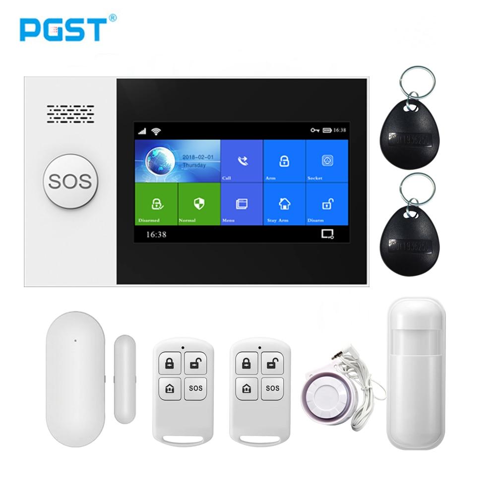 PGST PG107 Tuya Alarm System 4.3 inch Screen WIFI GSM GPRS Burglar Home Security With PIR Motion Sensor Fire Smoke Detector enlarge