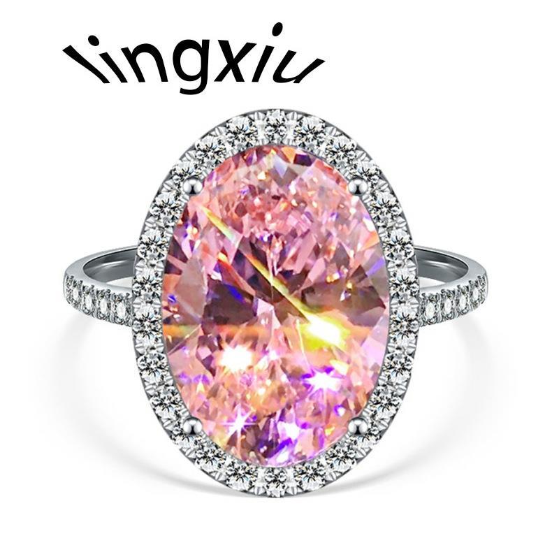 -Anillo de boda ovalado de cristal rosa para mujer Color plata fiesta...