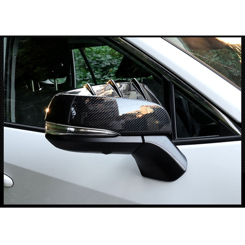 fit for Toyota Rav4 2019 2020 Carbon Fiber color Black ABS Side Door Mirror Cover Trim Cap  - buy with discount