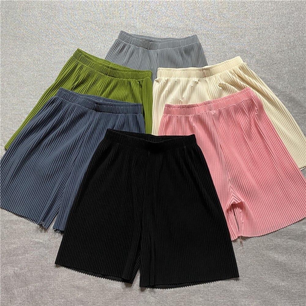 Женские плиссированные шелковые брюки, повседневные летние модные шорты для женщин, женские шорты большого размера