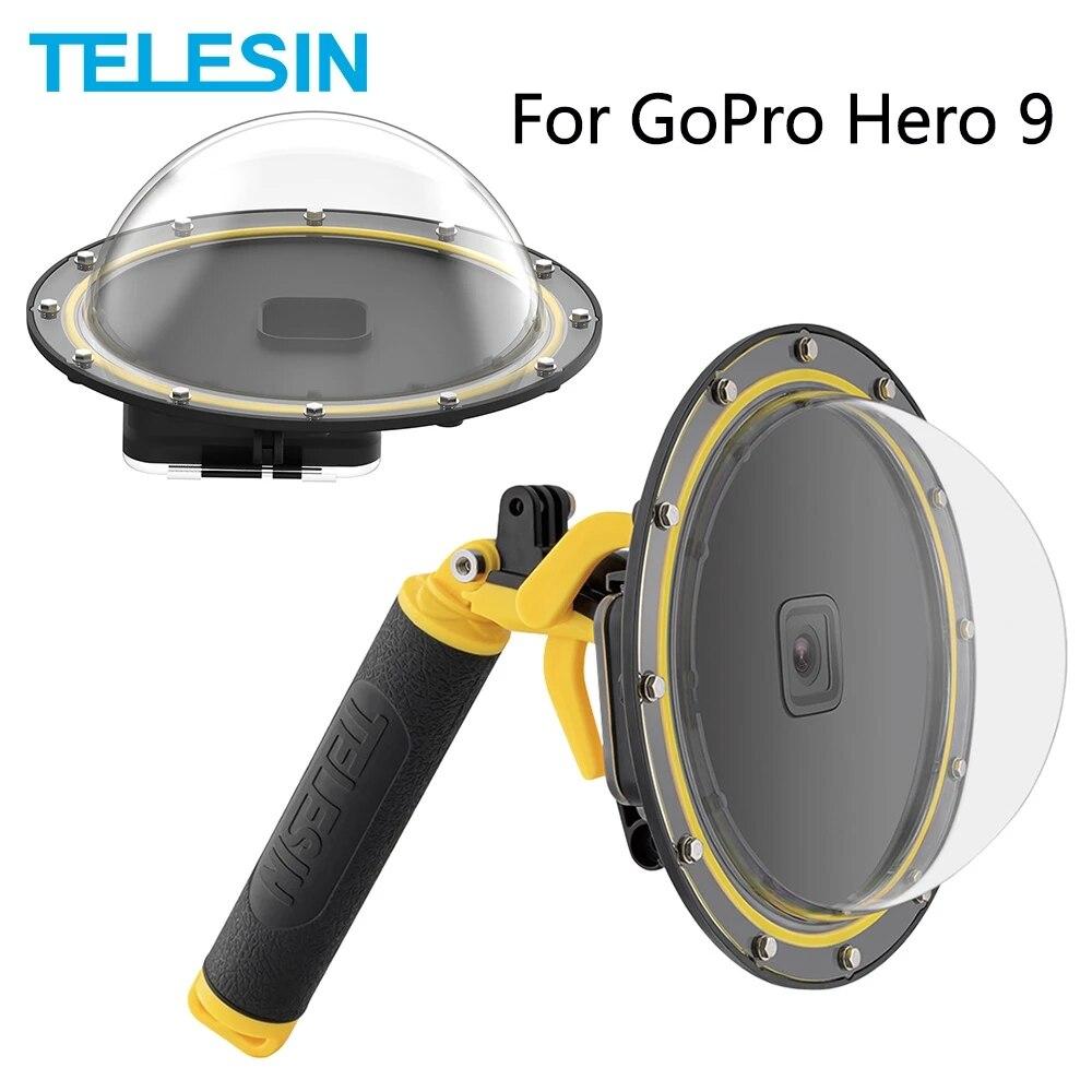 TELESIN 6 ''قبة ميناء 30M للماء حالة الإسكان مع العائمة مقبض الزناد الغوص غطاء ل GoPro بطل 9 الأسود اكسسوارات