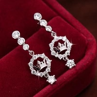 creative fashion popular crown zircon copper earrings sweet and cute ladies birthday party gifts wholesale