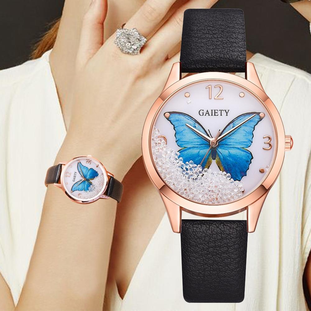 Женские часы от бренда Gaiety, роскошные женские часы со съемной бабочкой, женские наручные часы, женские часы