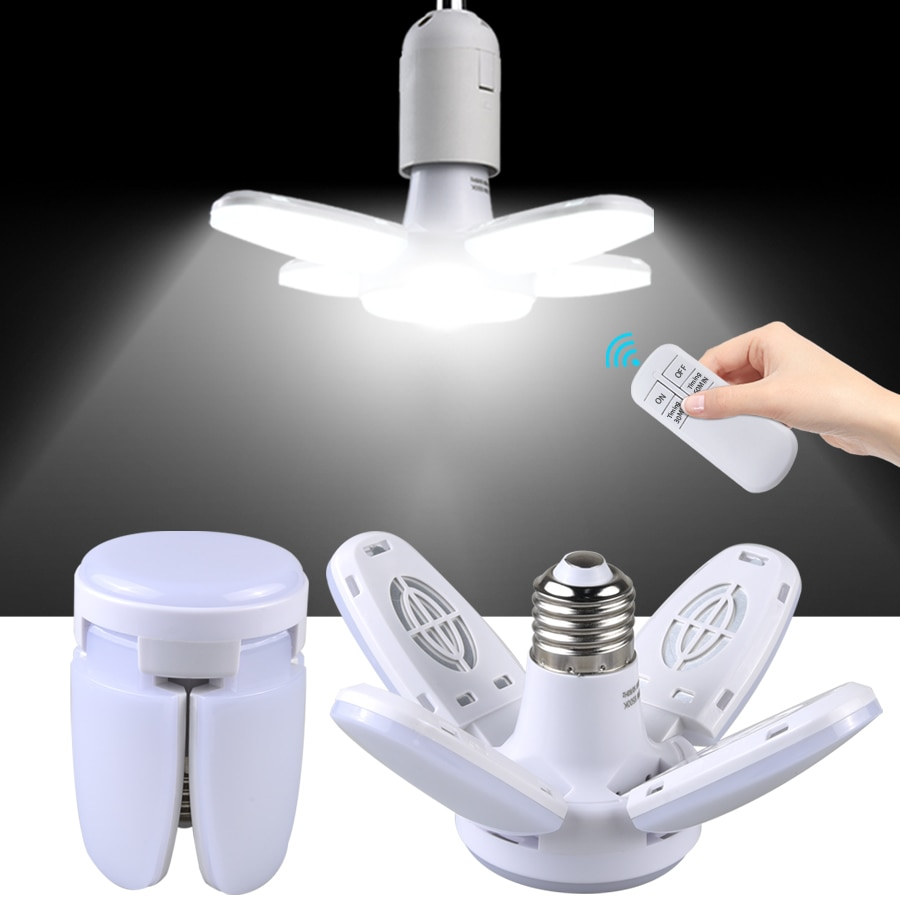 E27 LED Bulb Fan Blade Timing Lamp AC85-265V 28W Foldable Led Light Bulb Lampada For Home Ceiling Light With Remote Controller