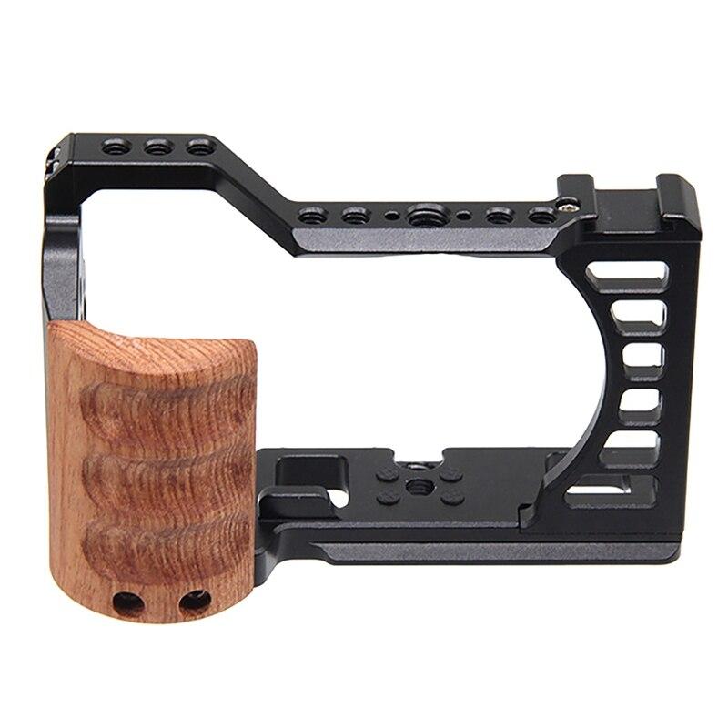 قفص للكاميرا مع سبيكة ألومنيوم خشبية DSLR ، طقم قفص واقي لسوني A7C