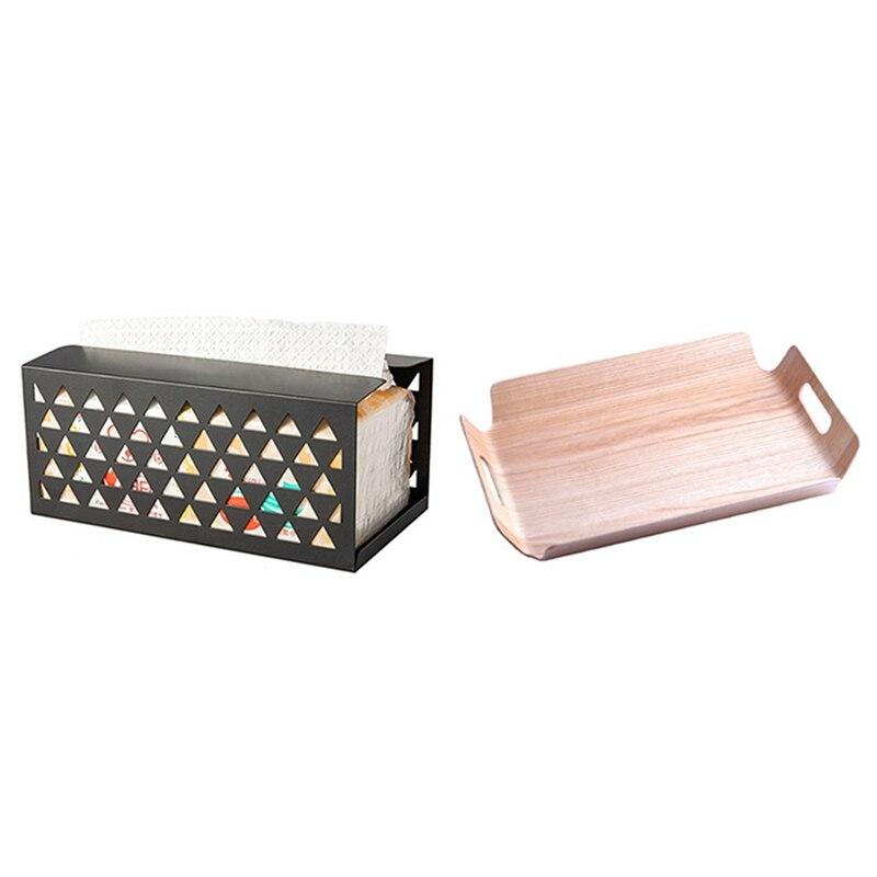 تعزيز! فاخر مكتب الجدول الخيزران في السرير الخبز علبة خشبية الخشب الفاكهة مع الحديد الأنسجة صندوق صندوق للمناديل الورقية الأنسجة