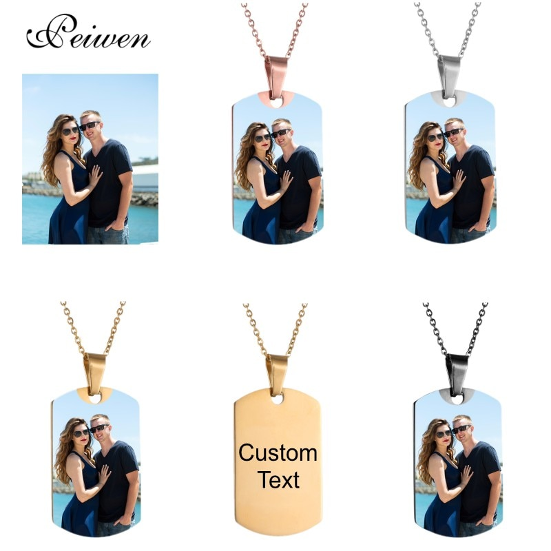 Military Army Shape Tags Necklace Personalized Nameplate Custom Name Photo Gold Chain Necklace For Women Men Customized Jewelry hip hop jewelry cuban chain customized nameplate necklaces for women men punk gold tone solid personalized custom name necklace