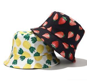 Fruit Print Bucket Hat Summer Women Cotton Cap Girls Outdoor Fashion beach Bob Sun Female panama Pineapple hat