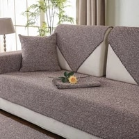 2021 four season sofa cover non slip linen woven arm sofa cushion sofa towel pure color armrests couch covers for living room