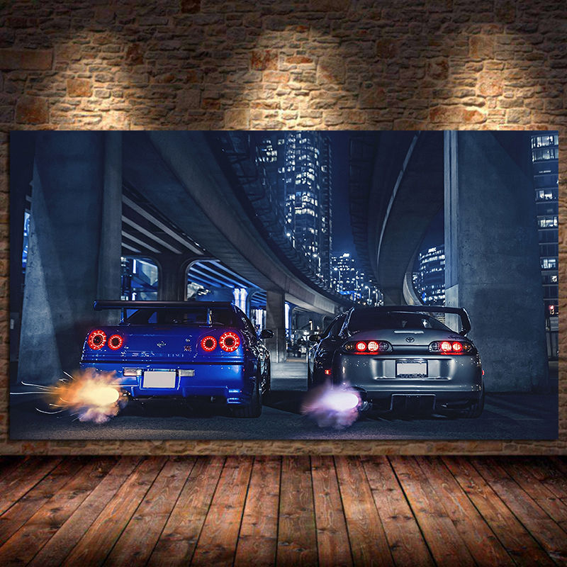 AliExpress - Car Wall art frame GTR R34 VS Supra vehicle modern canvas painting poster and print for living room bedroom home decor Unframed