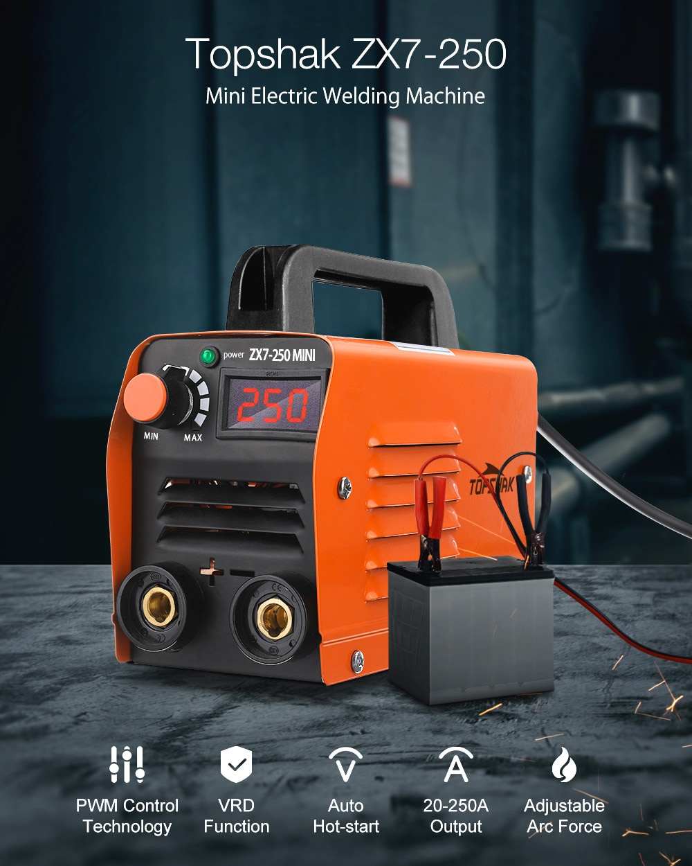 ZX7-250 250A Mini Electric Welding Machine Portable Digital Display MMA ARC DC Inverter Plastic-welder Weld Equipment
