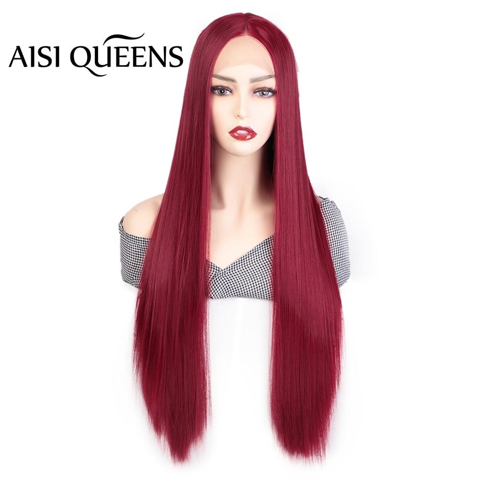 Peluca frontal de encaje sintético AISI QUEENS partes medias largas rectas rojo naranja para mujeres blancas negras Cosplay pelo Natural