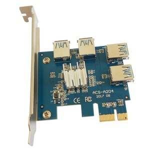 PCI-E Riser Card 1 to 4 PCI-EX1 to PCI-EX16 Graphics Card Interface One for Four 4X Slots for WinXP/Win7/Win8/Win10