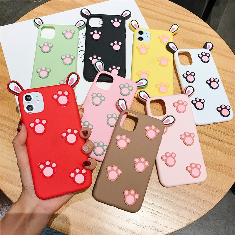 Moda 3d bonito gato garra silicone telefone macio caso para iphone 11 pro 6 s 8 7 6 plus x xs xr max dos desenhos animados orelhas de coelho telefone caso