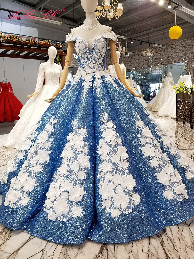 AnXin SH الفاخرة الأميرة زهرة بيضاء زهرة الأزرق الدانتيل الخرز اللؤلؤ الوهم قارب الرقبة صارخة فستان الزفاف 100% صور حقيقية