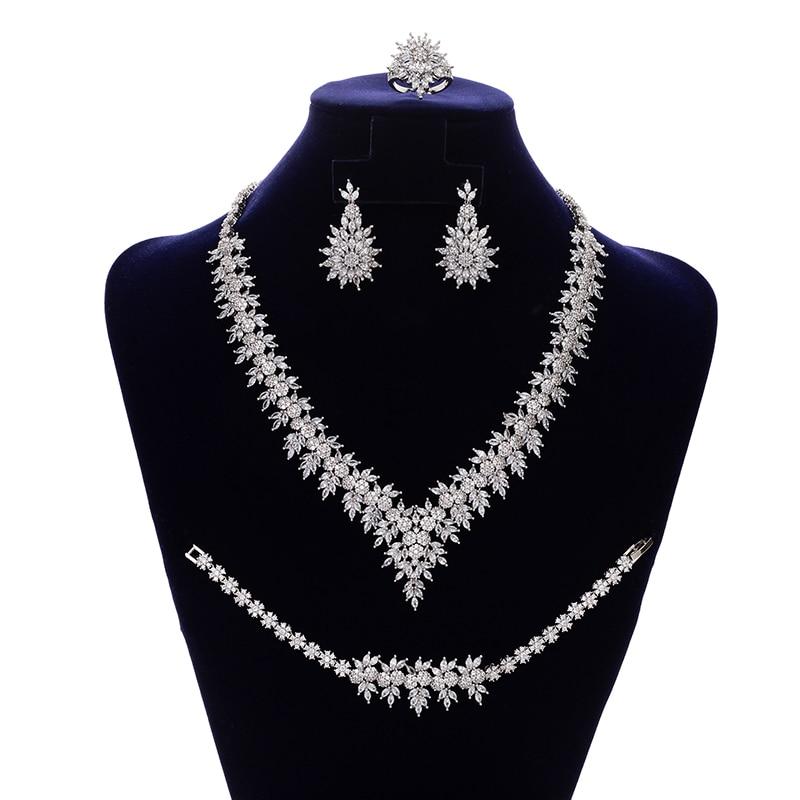 Jewelry Set HADIYANA Vintage Gorgeous Bride Wedding Party Necklace Earrings Ring And Bracelet 4pcs Set CNY142 Conjunto de joyas