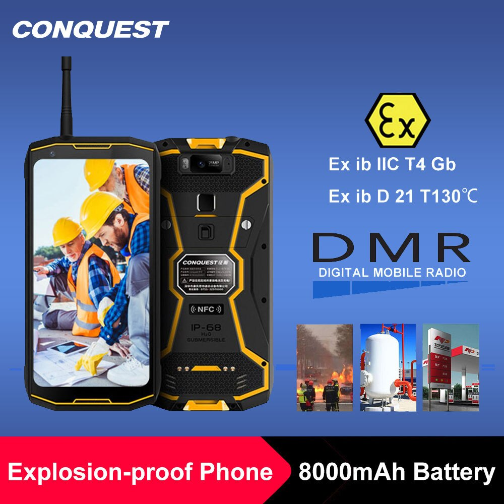 CONQUEST S12 Pro ATEX Secure Phone Safety Explosion Proof IP68 4G Mobile Phone 8000mAh Android Rugged Smartphone