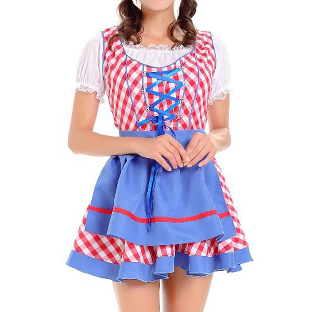 Oktoberfest Plaid Print Pullover Spring Autumn Short Casual Women Round Neck Short Sleeve Waitress Party Dress Cosplay Halloween