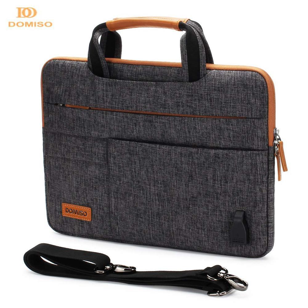 DOMISO10-حقيبة كمبيوتر محمول متعددة الوظائف 13 14 15.6 17.3 بوصة ، حقيبة أعمال مع منفذ شحن USB ، بني ورمادي
