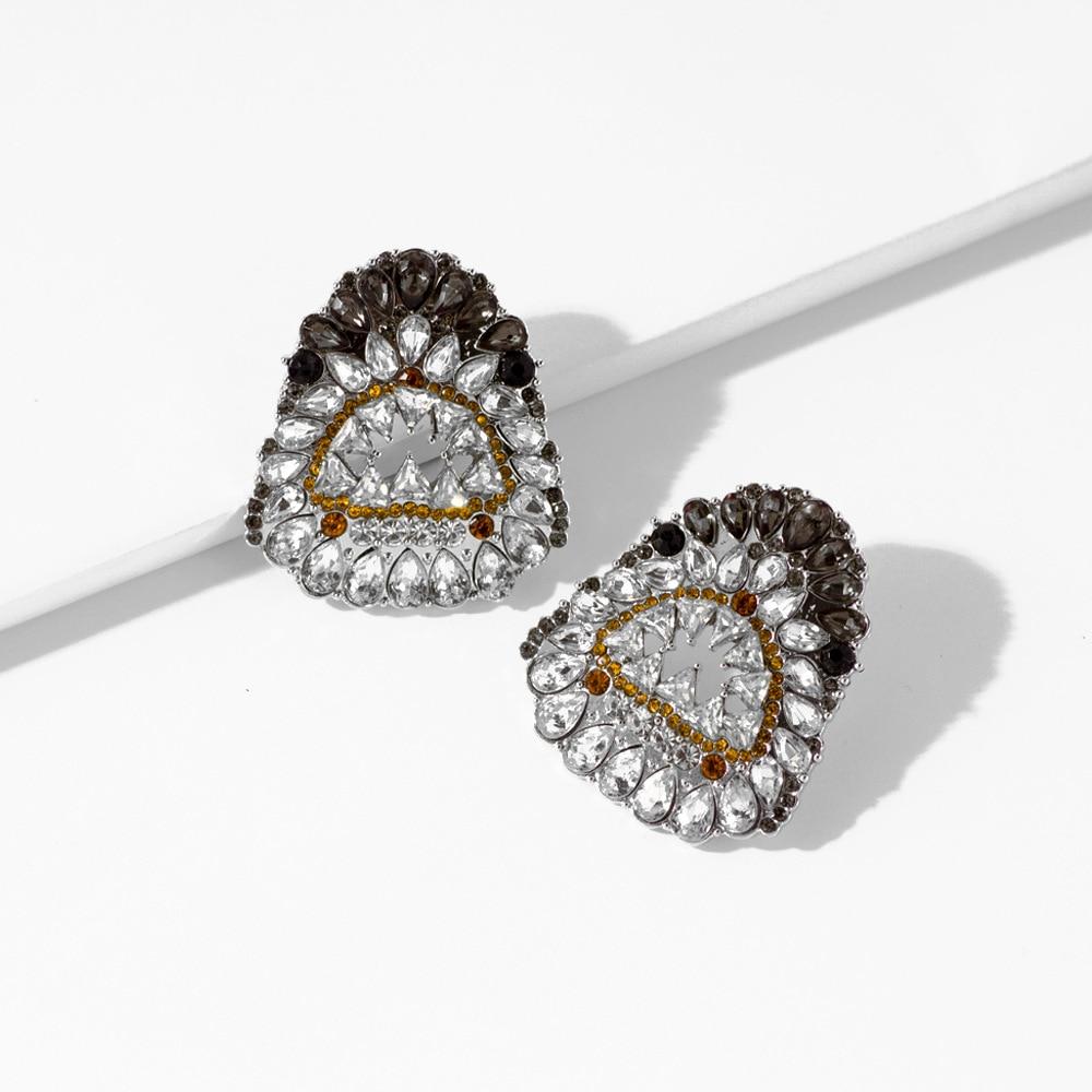 Pendientes de moda con incrustaciones de diamantes de imitación para mujer, diseño creativo, pendiente de boca de tiburón, Boutique de diamantes de cristal, joyería de fiesta