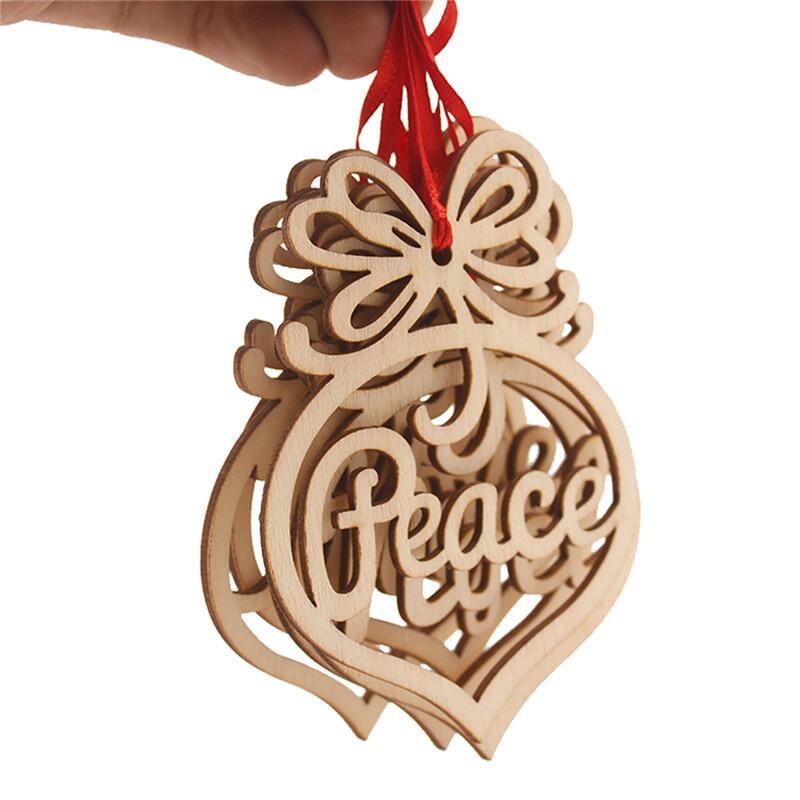 Letras de Navidad madera corazón burbuja patrón adorno árbol de Navidad decoraciones hogar Festival adornos LX7975