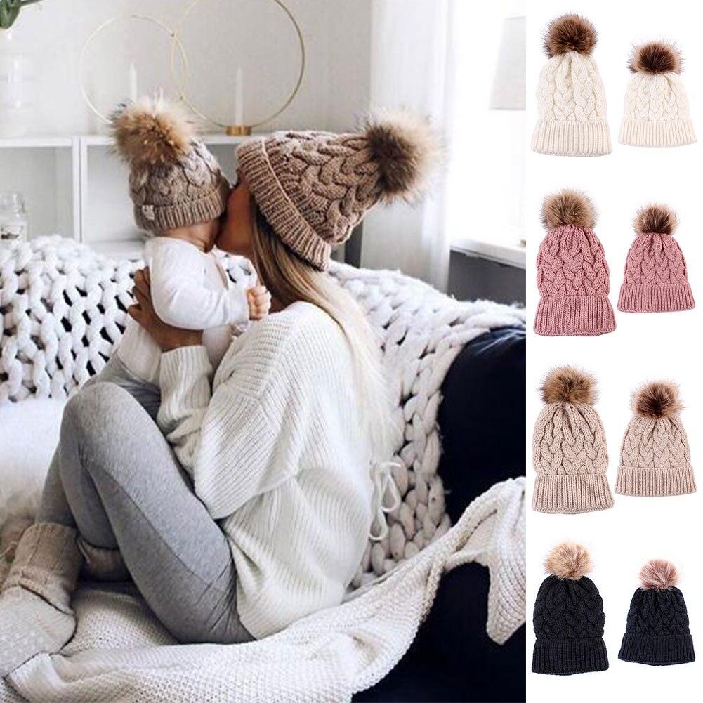 2 Pcs Women Kids Knitting Hat Cap Crochet Warm Breathable for Winter Outdoor XR-Hot