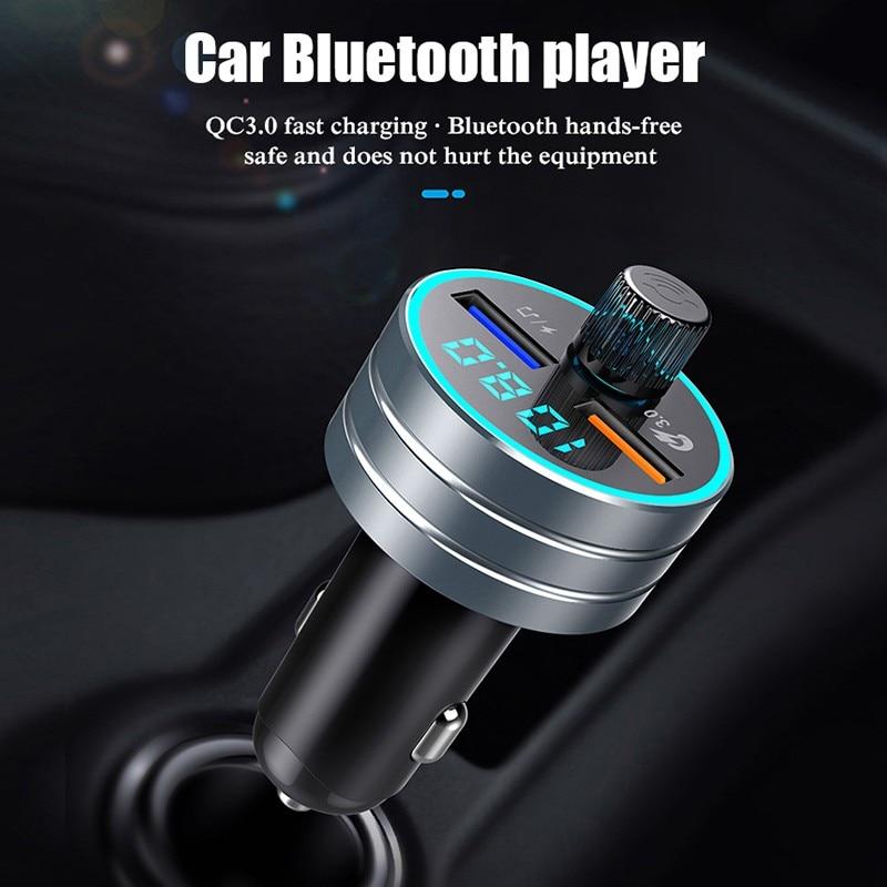 Coche manos libres transmetteur fm bluetooth voiture 2.1A USB Dual del cargador del QC3.0 adaptador de Radio Kit de transmisor inalámbrico de FM MP3 jugador