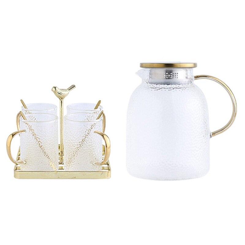 طقم شاي زجاجي ، غلاية منزلية بغطاء ، رف تخزين حديد ذهبي ، إبريق شاي بسعة كبيرة ، 200 مللي