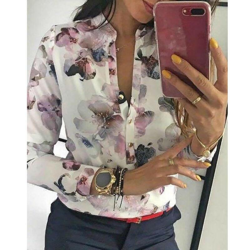 Las mujeres calientes Floral botón V cuello Camisas Mujer verano camiseta Tops manga larga OL Casual camiseta Tops
