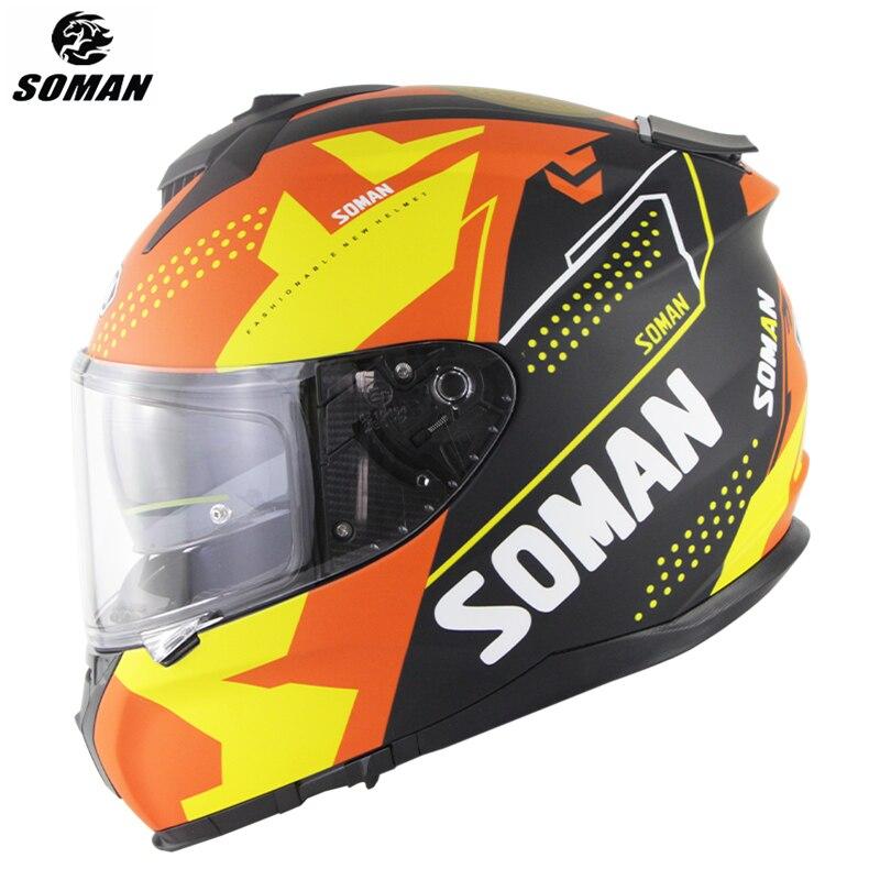 SOMAN المهنية خوذة سباق الوجه الكامل ECE دراجة نارية خوذة مع الشمس قناع عالية الجودة السعة دي موتو دوت كول Kask