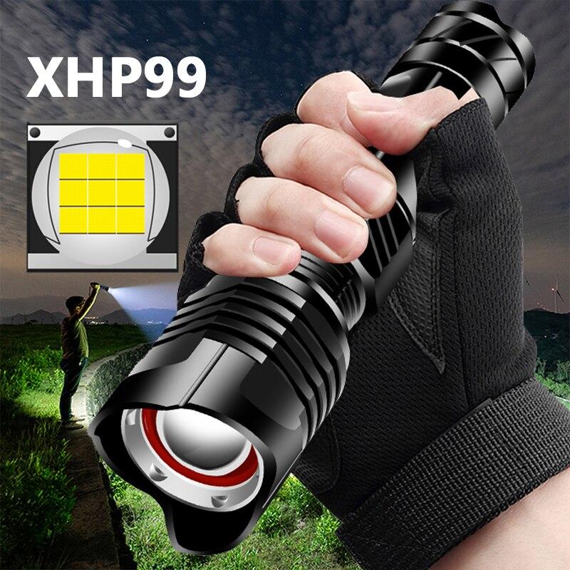 Xhp99 9-core alta qualidade poderosa tático lanterna led xhp70.2 zoomable tocha recarregável 18650 26650 battey xhp50 lanterna