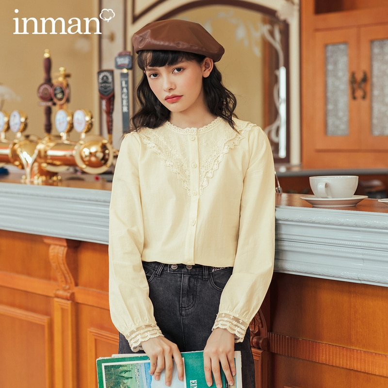 Inman 2020 outono inverno nova chegada blusa feminina estilo francês rendas franja gola redonda blusas das senhoras